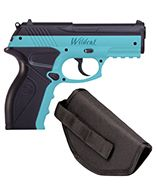 P10BLUKT : Wildcat Kit (Light Blue) CO2 Powered, Semi-Auto BB Air Pistol w/ Holster